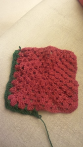 My friend began the red, the green were my first few tentative stitches.