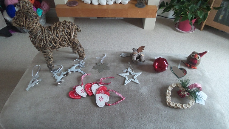 My Christmas decoration haul this year: a mixture of John Lewis, garden centre, Next and The Range.