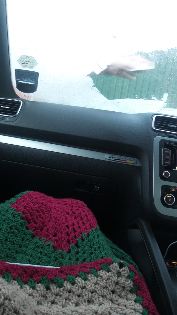 Cosy christmas blanket and heated seats on an icy day.
