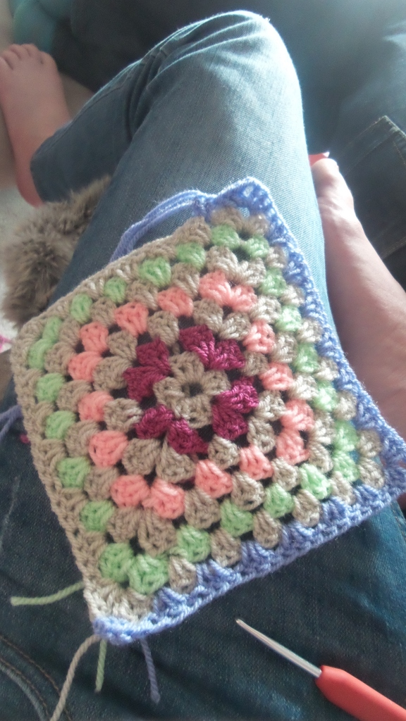 After they left I consoled myself with a bit of mindless crochet. Cushion cover perhaps?